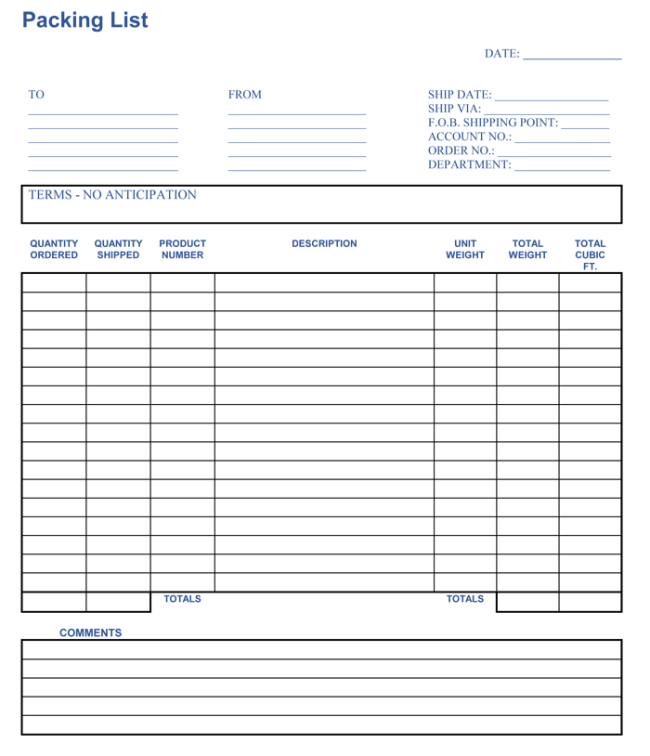Packing Checklist Template 5 Printable Packing Lists – Packing List Template
