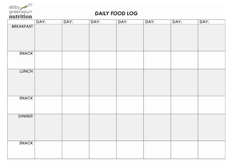 Daily Food Log Pdf