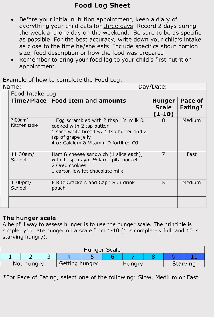 Free Food Diary Template Word