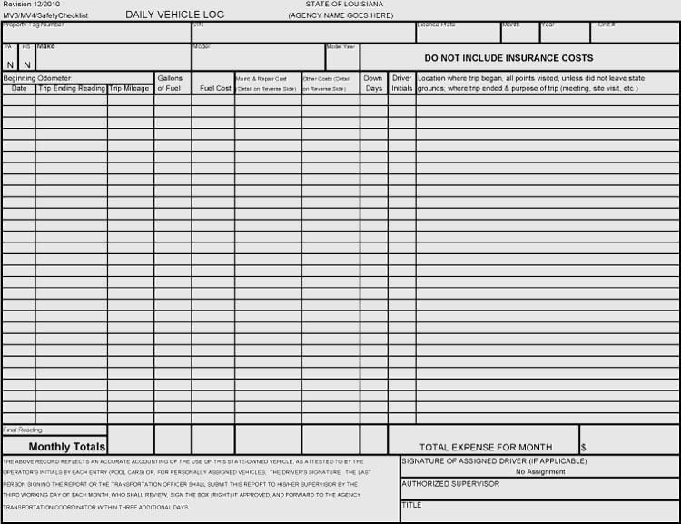 Free Vehicle Maintenance Log Service Sheet Templates For Excel Word