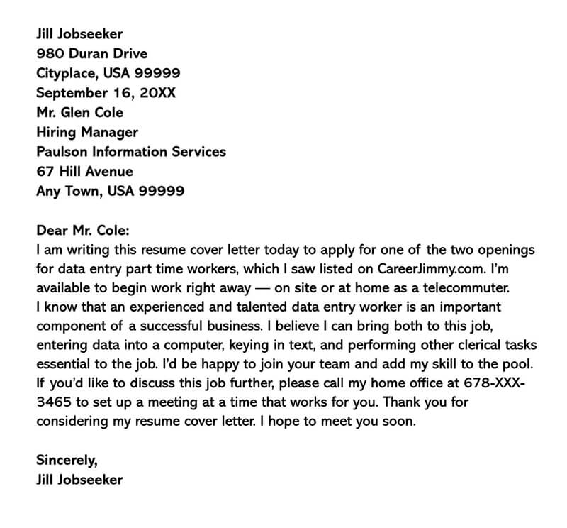 Data Entry Part-Time Job Cover Letter Example