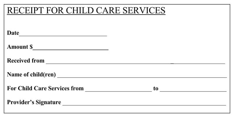 Daycare Receipt Example
