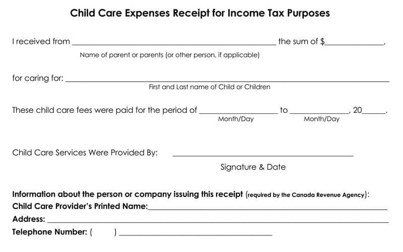 Daycare Tax Receipt