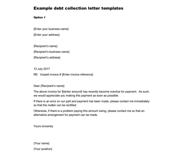 Debt Collection Letter Sample  Letter Templates