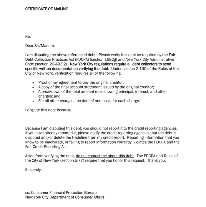 Sample Debt Dispute Letter Template