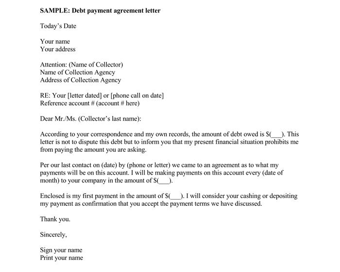 Sample Debt Settlement Agreement Letter