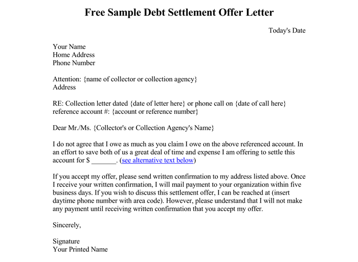 Sample Debt Settlement Offer Letter