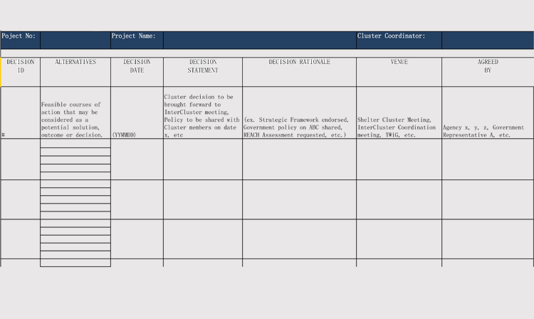 sample of decision log sheet
