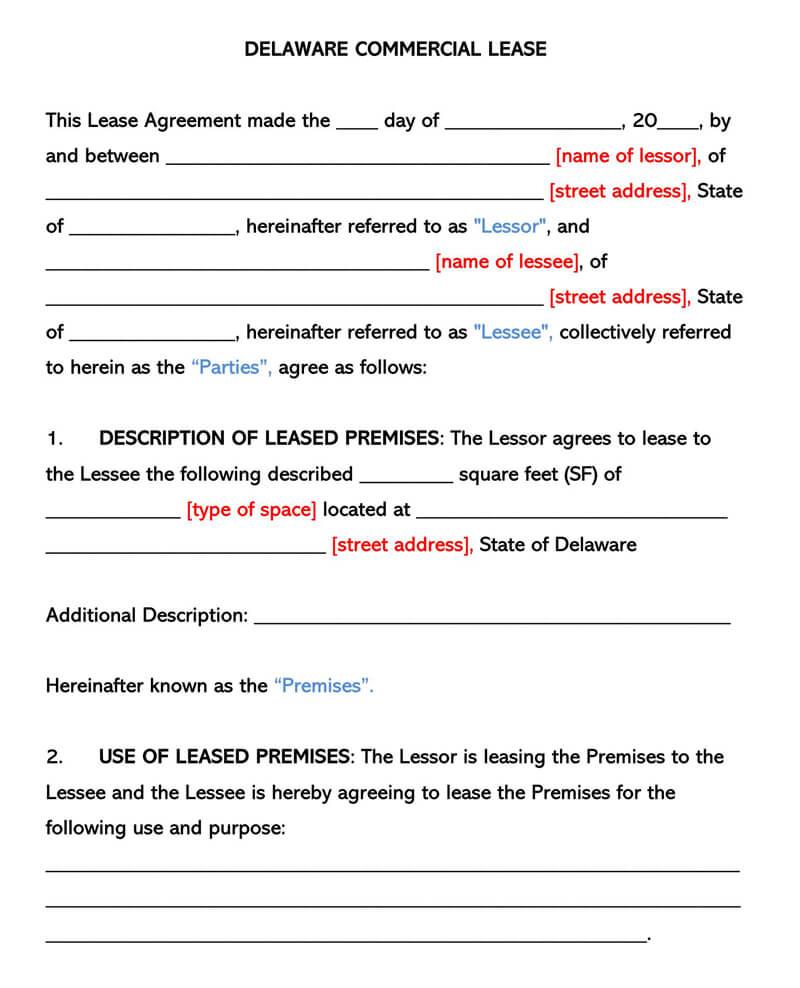 Delaware Commercia Rental Lease Agreement