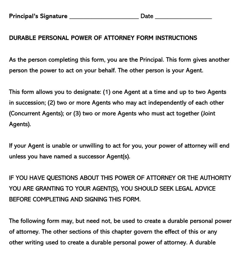 Delaware Power of Attorney Form