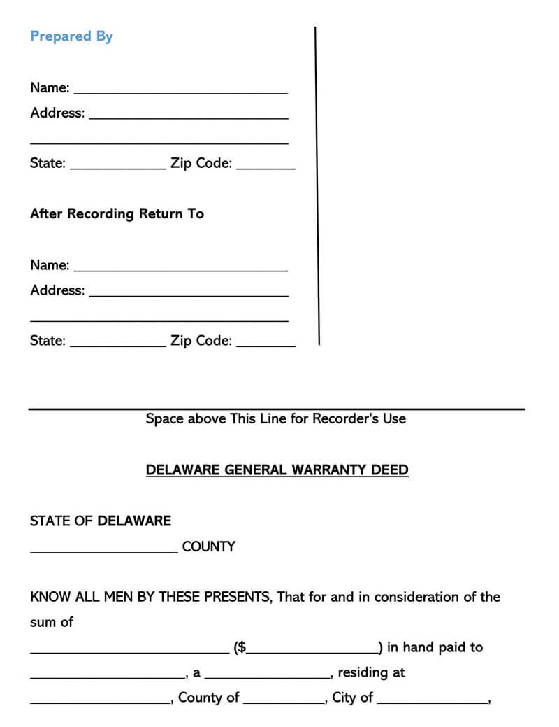 Delaware Warranty Deed Form