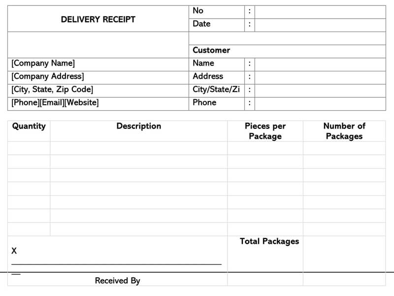 Delivery Receipt Template Word