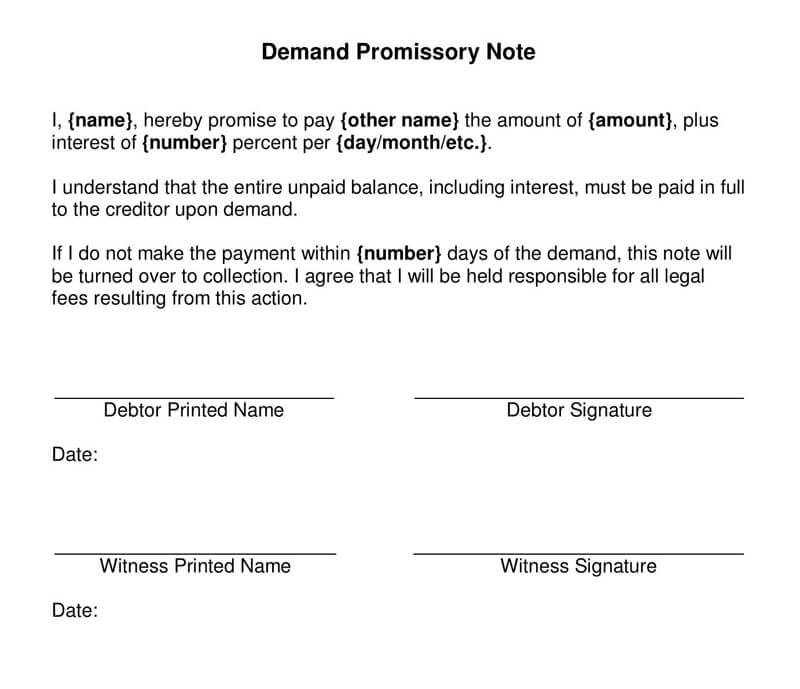 Demand Promissory Note Form