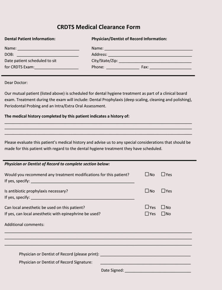15+ Sample Medical Clearance Forms (Dental, Surgery, Exercise, Work)