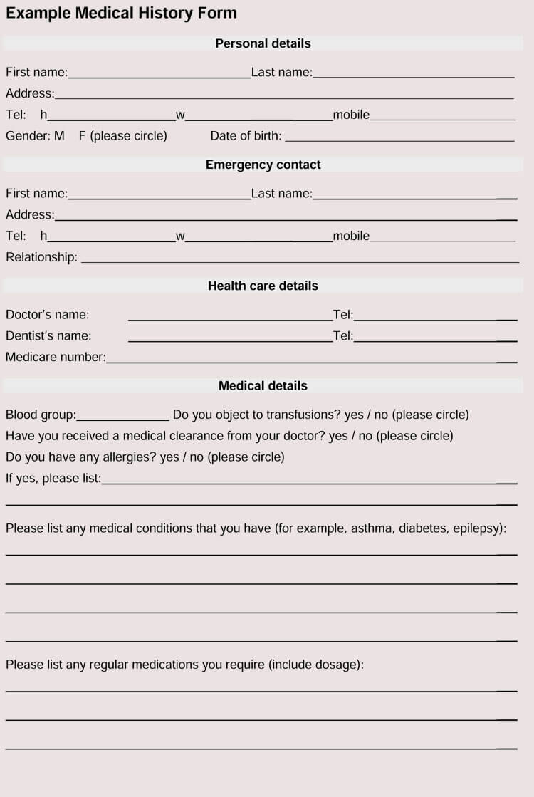 Dental Medical Form