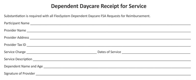 Dependent Daycare Service Receipt
