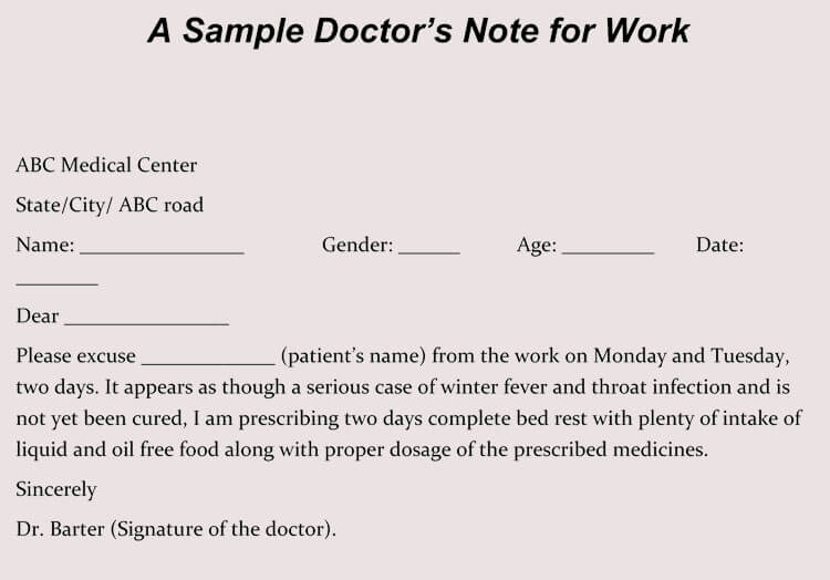 Doctor's Note For Missed Work
