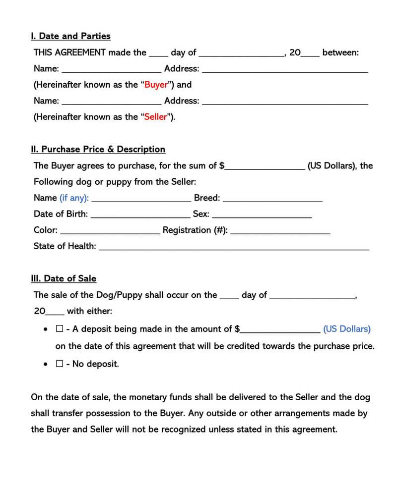 Dog Bill of Sale Form