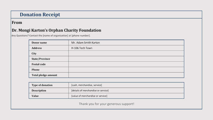 donation for charity foundation template