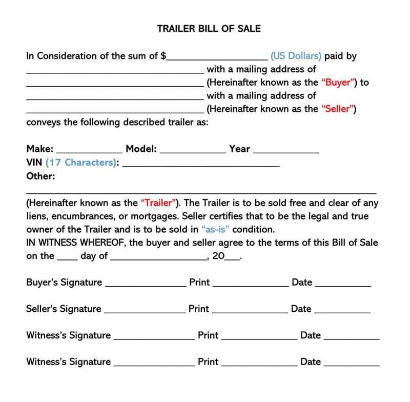 Downloadable Trailer Bill of Sale