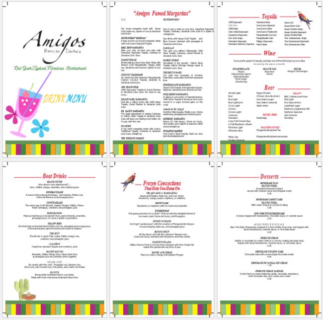 drink menu template 5 best drink menu formats