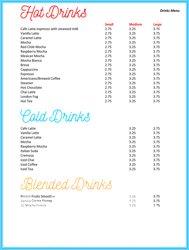 Drink Menu Template 5 Best Drink Menu Formats – Drinks Menu Template Free