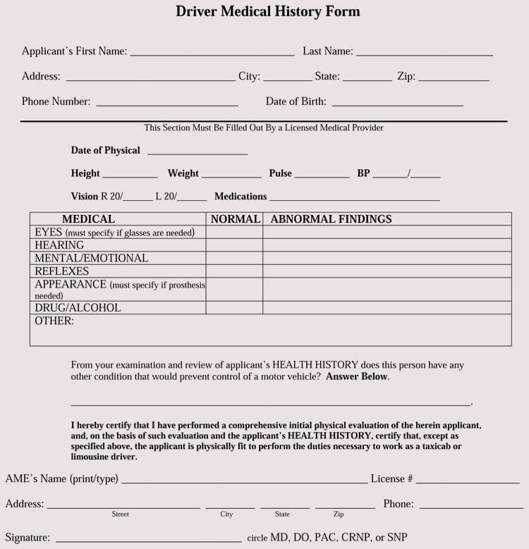 Driver Patient Medical Form
