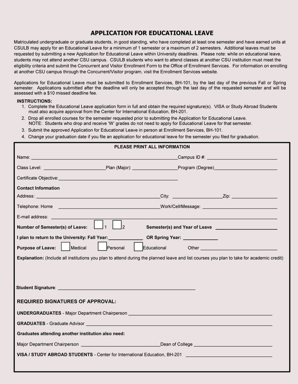 Educational Leave Application Form