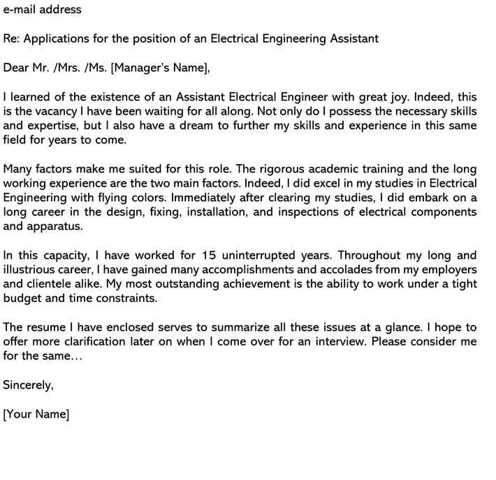 Electrical Engineering Cover Letter email Example
