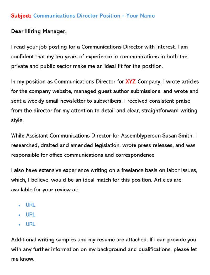 Sample Email Cover Letters & Examples How to Write and Send
