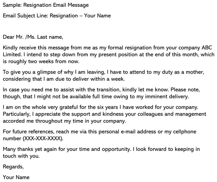 Resignation Email Message cover letter