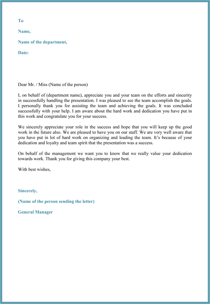 Letter of Appreciation to Employer