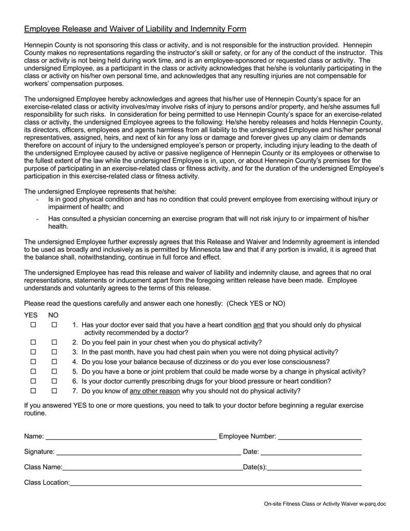 Employee Liability Waiver Form