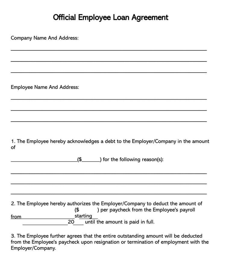 Employee Loan Agreement Form