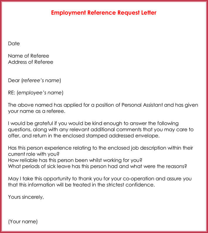 Awesome Employment Reference Request Letter Template Gallery