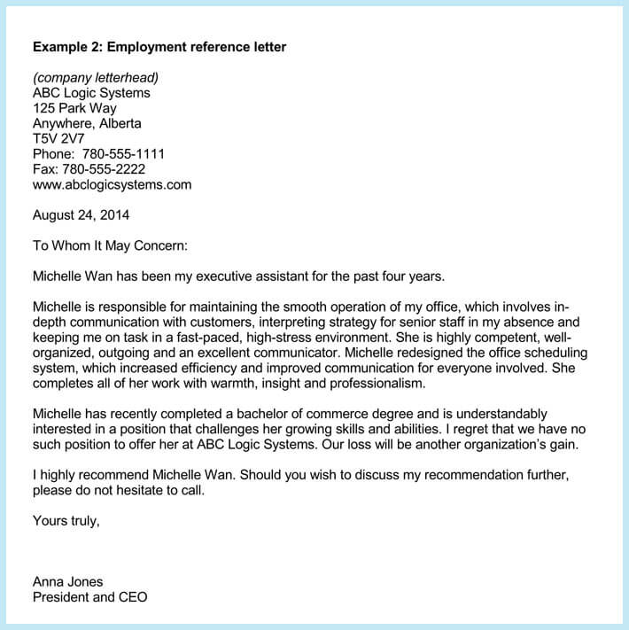 Employment Reference or Recommendation Letters