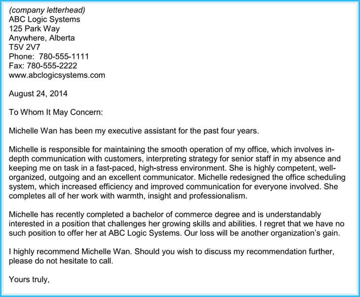 Reference Letter Of Employment