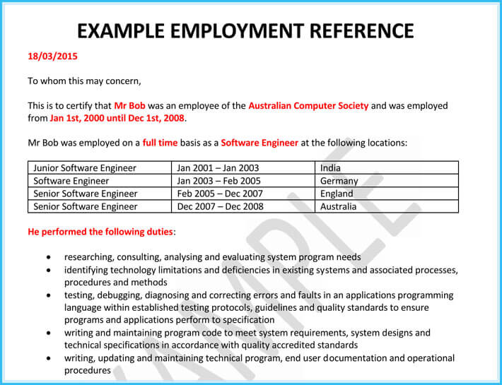 printable employment reference letter