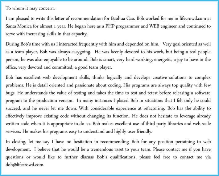 Software Developer Employment Reference Letter Sample