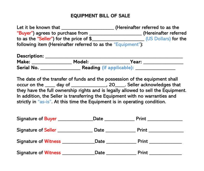 Equipment Bill  of Sale Form 01