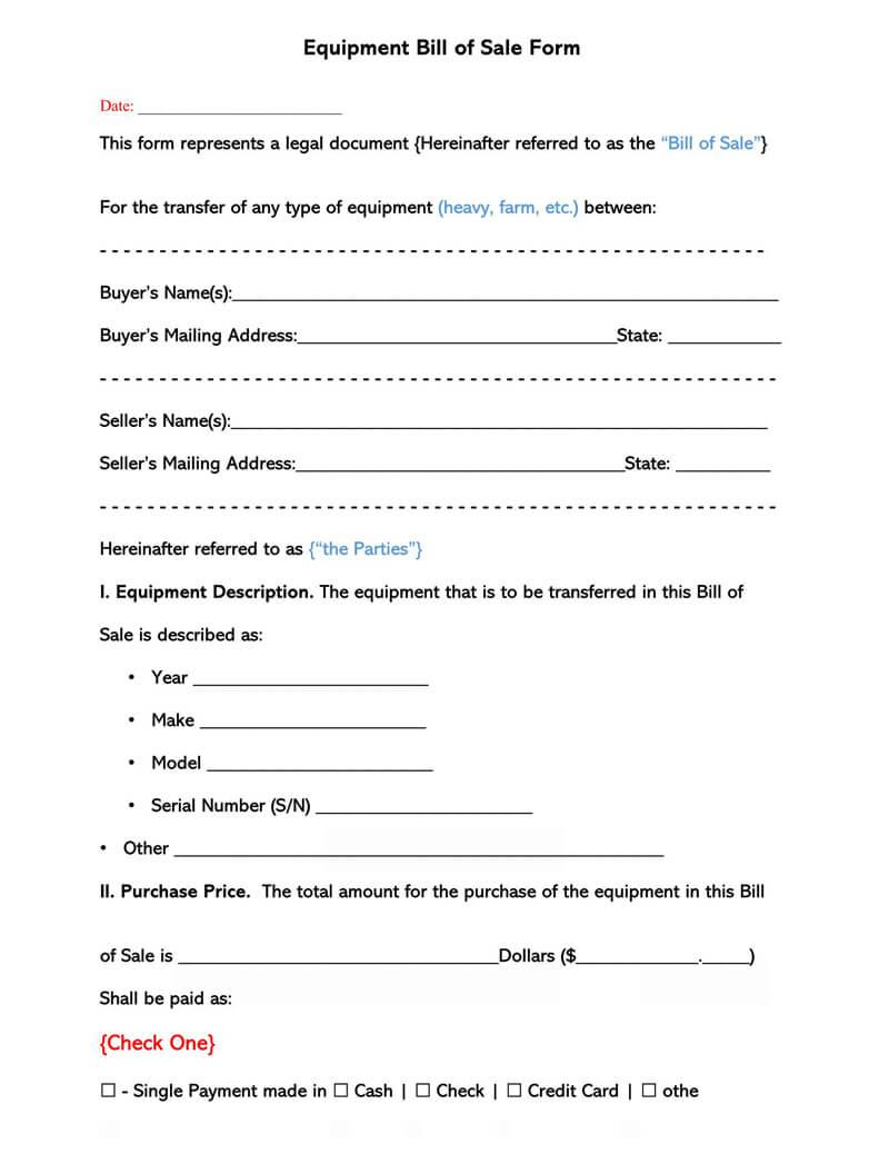 Equipment Bill  of Sale Form 02