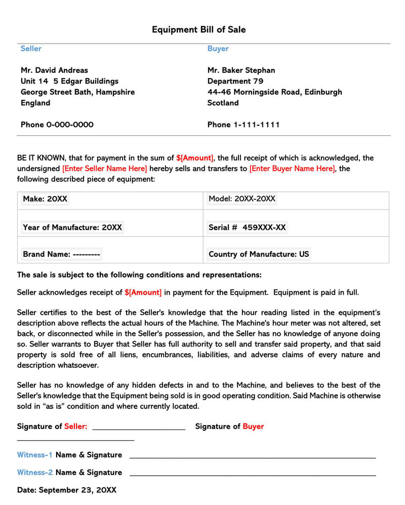 Equipment Bill of Sale Form 04
