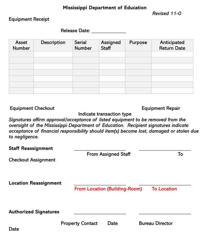 Equipment Repair Receipt Form