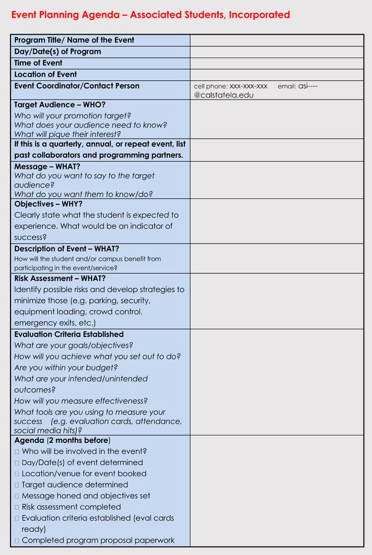 Event Planning Agenda Design
