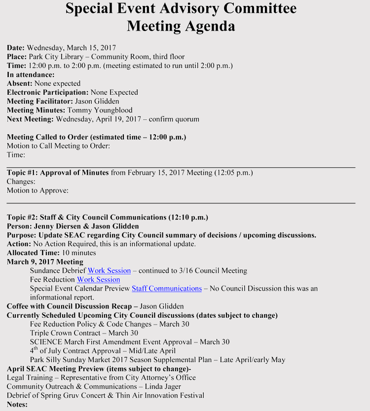 Meeting Event Agenda Example