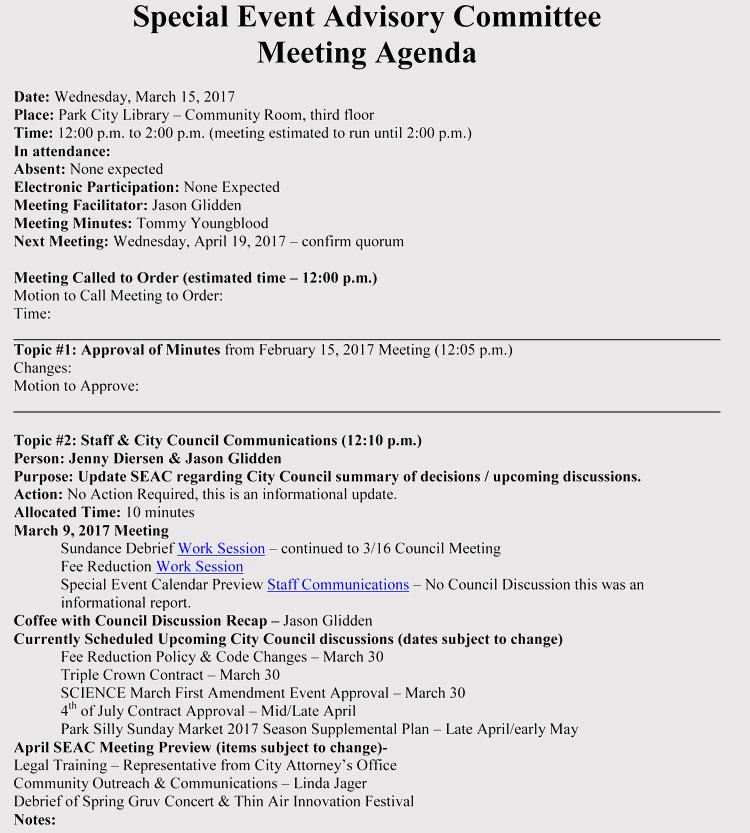 Event Planning Meeting Agenda Template