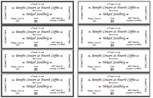 Event Ticket Template Templates for Microsoft Word – Printable Event Tickets