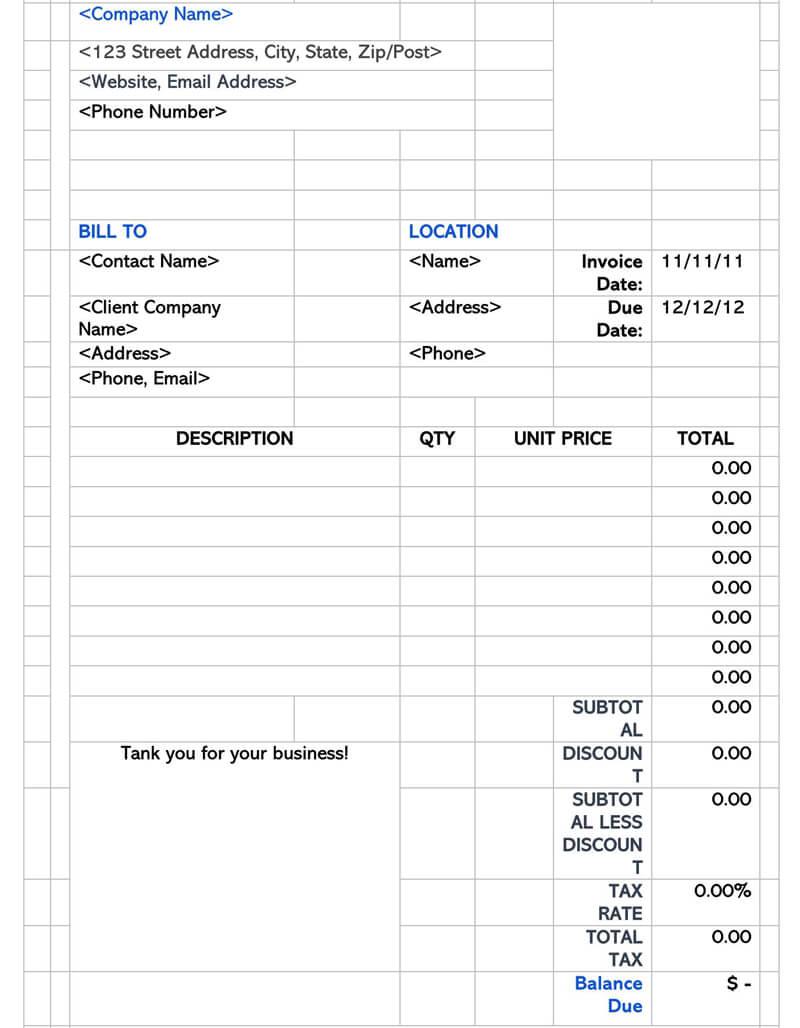Example Contractor Receipt Template