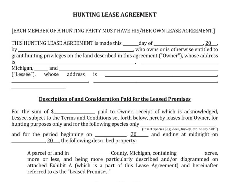 Example Hunting Lease Agreement Template
