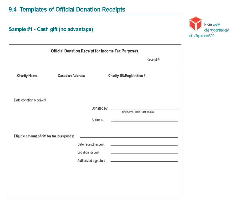Example Official Donation Receipt